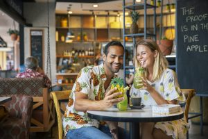 To celebrate the launch of their new pineapple themed menu (jerk chicken tacos, cheesecakes, iced teas and breakfast bowls), they're slinging free meals and drinks to anyone that comes in to their stores wearing anything pineapple patterned clothing or accessory.
