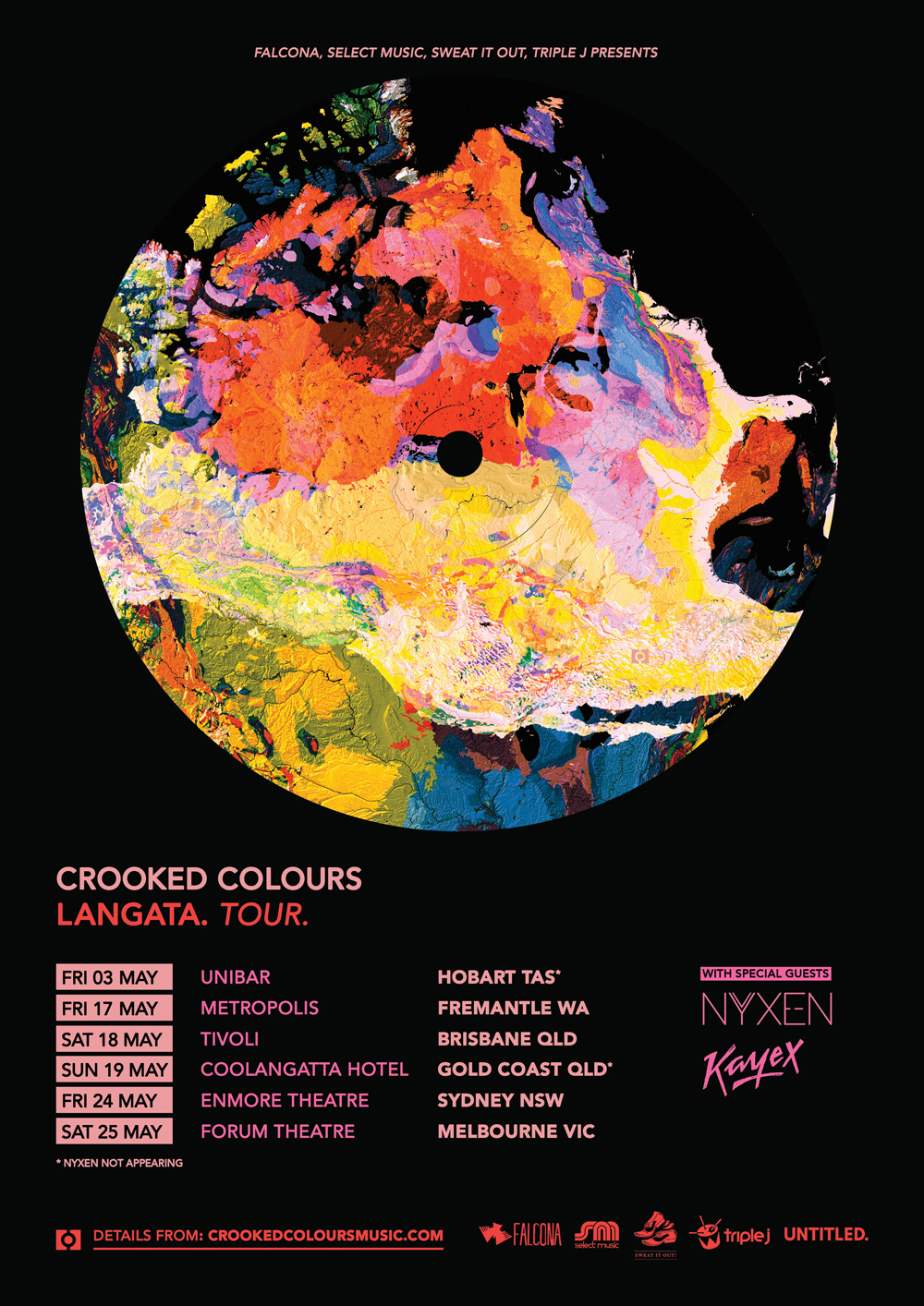 "After wowing audiences with two new tracks from the highly anticipated sophomore album Langata at the tail-end of 2018, Crooked Colours have announced that they will be bringing their unique brand of electronic dance music to audiences all around the country throughout April and May 2019, before heading overseas for a run of exclusive dates in June.  Fresh from closing out stages across the country for St. Jeromes Laneway Festival, the group will be joining the party at renowned Aussie festival Groovin' The Moo, before embarking on their biggest headline shows to date.  Groovin' will see the band moving through regional towns Wayville, Maitland, Canberra, Bendigo, Townsville and Bunbury, while the headline tour will hit metro venues Unibar in Hobart, Metropolis in Fremantle, The Tivoli in Brisbane, Coolangatta Hotel on the Gold Coast, Enmore Theatre in Sydney, and wrapping up at the iconic Forum Theatre in Melbourne on May 25.  Joining Crooked Colours on the headline dates will be fellow triple j faves Nyxen and Kayex.    Crooked Colours, consisting of members Philip Slabber, Leon De Baughn and Liam Merrett-Park, burst onto the scene in 2013 with breakout singles Come Down, Capricious and Another Way, earning three consecutive #1's on Hype Machine and gaining a solid fanbase around the world.  The result of a patient approach from an act determined to create a timeless debut, their album Vera released in 2017 demonstrated diverse and layered productions from a breed proving themselves as one of Australia's hottest rising acts in electronic music today.  Hit singles Flow, I Hope You Get It and Come Back To You were been picked up by radio stations and press around the world such as Radio 1, Eins Live, triple j, Majestic Casual to name a few.  To date, the band has had over 50 million streams on their debut accompanied by award winning music videos for all previously released singles.    With new tracks from the trio I'll Be There and Do It Like You gaining rapid momentum towards the end of 2018 and into 2019, the mysterious second LP from Crooked Colours, entitled Langata, is expected to drop just before they hit the road for what will be their biggest Australian tour ever.  Thrilled about the upcoming dates, Crooked Colours' Philip enthuses, ""We're so excited about our upcoming headline shows - we get to curate the night, design the lighting and visuals, and play a full length set with music.  We always play tracks stretching from our first ever release Come Down, through our debut album Vera, and now we'll also be showcasing brand new music from our forthcoming album Langata.""    After taking Australia by storm with their ambitious and impressive new live show, Crooked Colours will be heading overseas to perform at some of the hottest festivals in the world, including Bonaroo and Firefly festivals, plus more.  Crooked Colours have established themselves as one of the hottest rising acts with the debut Vera.  Now they are on track to become one of our biggest electronic exports with this superb sophomore release.     CROOKED COLOURS LANGATA NATIONAL TOUR  Presented by Falcona, Select Music, Sweat It Out and triple j   FRI 26 APR  
