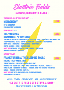 """Today Electric Fields has announced that the festival is moving site for 2019.  Due to the rising costs of producing outdoor camping festivals and ongoing logistical issues they have made the decision to move site to an inner-city location in Glasgow.  In 2019 Electric Fields will relocate to SWG3 in Glasgow with the event going ahead on the same dates (4 – 6 July) including multi stages (outdoors and indoors) Our Kids Electric plus top-quality street food & drink.  SWG3 is located in the popular Finnieston area, with excellent transport links from and around Glasgow and further afield.  They're happy to say that the full line-up remains the same at their new venue as well.  Nick Roberts, Festival Director, said:""""After spending the past 5 years putting on a quality outdoor music festival we found the rising costs this year have led us to reimagining how Electric Fields takes place for 2019. Although we leave Dumfries & Galloway with a heavy heart our new venue offers a very exciting opportunity for us to flex our creative muscle and put on an outstanding show in the heart of Glasgow. We will have our full line-up joining us, excellent food and drinks and of course tons to do for little ones with Our Kids Electric. We look forward to seeing faces old and new in July.""""  Tickets  3 Day weekend £95 2 day weekend (Friday & Sat) £80  Thursday - £30 Friday - £45 Saturday - £45  Age 6 - 13 £10 (full weekend access) 5 & Under free  Tickets for Electric Fields at SWG3 are on sale now fromwww.electricfieldsfestival.com  Notes for editors Electric Fields Festival takes place from 4 – 6 July 2019 at SWG3, Glasgow, Scotland, G3 8QG.  www.electricfieldsfestival.com Facebook -https://www.facebook.com/electricfieldsfestival/ Twitter - @Electric_Fields Instagram - electric.fields.festival"""