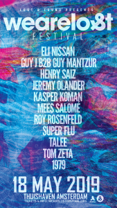 """Guy J Announces We Are Lost Festival 2019! We're in for a very early summer this year with the second edition of Lost & Found's; We Are Lost Festival taking place on the 18th of May! The way Guy J's brand is evolving is magnificent to see and he's taking his assembly of like minded artists with to create something special. After a very successful edition last year in Amsterdam everyone has decided that this should happen again for everyone to enjoy! This time with a different set of artists.. The label sound is very specific and has this constant feel we recognize in the selected artists. For this edition Guy J invites some of the newcomers in the scene like 1979 and rising label star Kasper Koman. Balance is important in everything we do and that's how this line up is shaped with label regulars Eli Nissan, Guy Mantzur and Henry Saiz weighing in against the less regular German super duo Super Flu. This promises to be one of the highlights in the Lost & Found diary.. Guy J """" The line up for one of the stages on We Are Lost Festival is collection of producers and I respect a lot their work , with these names we can give the crowd some of the best in electronic music that represent the vision of the label."""" Henry Saiz """"I've been friends with Guy for a decade already and I just love him and what he does, playing this party last year was one of my personal highlights. When you mix amazing music in a beautiful place for one of the best crowds in the world you just can't go wrong. It's gonna be a memorable party!"""" Eli Nissan """"I'm so happy to be part of thiswonderful young festival of my favorite label Lost & Found.Looking forward to see you all with us at We Are Lost Festival 2019.  Can't wait.."""" Kasper Koman """"Very excited to be joining the We Are Lost line-up at one of my own favourite venues in The Netherlands. Will be counting down the days."""" We Are Lost 2018 has had an amazing reaction from all over the world, looking forward this can only get better! The location Thui"""