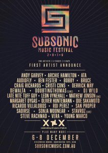"""MAY 8TH, 2019 - For this years event, Subsonic Music Festival is excited to announce they will be partnering with London institution Fabric for an incredible artist showcase to celebrate their 20 year anniversary dubbed, """"Fabric XX'. The three day electronic music festival will take place this December 6-8, 2019, in the picturesque surrounds of Riverwood Downs Mountain Valley Resort. Located in the lush campgrounds by the Karuah River — approximately 3 hours from Sydney — Subsonic Festival 2019 will feature an explosive line-up of 200 international and local artists across five unique stages, in an immersive, multi-sensory environment with an unconventional edge. The 'Fabric XX' artist showcase will be headlined by legendary minimal tech veteran, Ricardo Villalobos alongside fabric founding resident Craig Richards (Fabric - UK), Mathew Jonson (live) (Wagon Repair - CA), Margaret Dygas (Perlon - DE) and Bobby (Fabric - UK.) The boutique festival dedicated to bringing attendees the best electronic talent from across the globe will also host performances from the likes of Audiofly (Flying Circus - ES), Archie Hamilton (Fuse, Moscow Recs - UK), Derrick May (Transmat - US), DJ Wild plus many more. For its 11th annual edition, Subsonic Music Festival is preparing for its biggest year yet after selling out in both 2017 and 2018. In addition to the incredible artist roster, attendees should expect mind-bending performance arts, luxury campgrounds and amenities, state-of-the-art light projections, thought-provoking workshops and installations in the zesty green surrounds. Stay tuned for more artist announcements on the line-up of music, artists and speakers throughout the year. TICKET INFORMATION: Pre-register from 12PM today to receive pre-announce ticket price (save $50) and go in to the draw to win a group experience at Subsonic Festival 2019 at www.subsonicmusic.com.au. First release tickets will be available for sale at 9AM AEST, 14.05.19 FIRST ARTIST ANNOUNCE for Subso"""