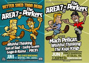 After playing together for the first time in 20 years to a packed Manning Bar in Sydney last December, AREA 7 & THE PORKERS have decided to take this fight on the road, and there bringing retired pop punkers Wishful Thinking along for the ride. Next up, Adelaide and Melbourne.  JUNE 7 - PRINCE BANDROOM - ST KILDA, VIC w/ Wishful Thinking, Mach Pelican & The Kujo Kings Doors 730PM BUY TICKETS RSVP JUNE 8 - BIG SHED BREWING - ADELAIDE w/ Wishful Thinking, Son of Dad, Lucky Seven, The PBCB's & The Real Mac Doors 6PM - $33+BF BUY TICKETS RSVP