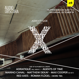 Continuing their successful partnership Adriatique and Audio Obscura once again join forces, this time during ADE '19. Saturday 19th October will see the promoter and artist combination, take over the stunning riverside venue of the Muziekgebouw. Divided between its four beautiful spaces, the Muziekgebouw supplies the perfect back drop to host Adriatique's 'X'. 'X' is born from a creative union forged throughout the 10 years that Adrian Shala and Adrian Schweizer have been producing and performing under the Adriatique guise. Following on from the EP of the same name, the duo alongside Audio Obscura now curate an event that encompasses their sound and philosophy; constantly pushing forward their boundaries. The event marks '10 Years of Adriatique' and lays down a marker on how far the Swiss-duo have come, alongside an all-night long set from the pair they will be supported by Max Cooper, Agents of Time, Red Axes, Roman Flügel, Matthew Dekay, Marino Canal and many more acts which will be announced in the coming weeks. Audio Obscura continue their obsession with finding unique and off-limits venues within Amsterdam, having taken over locations such as The Loft – A'dam Tower, Amsterdam's Central Station and the famous Rijksmuseum. Their previous collaborations with Adriatique saw them invite the duo to be the first electronic act to ever perform at Amsterdam's Central Station in April 2018. Audio Obscura & Adriatique presents: 'X' at Muziekgebouw aan 't IJ, Amsterdam on the 19th October during ADE 2019.