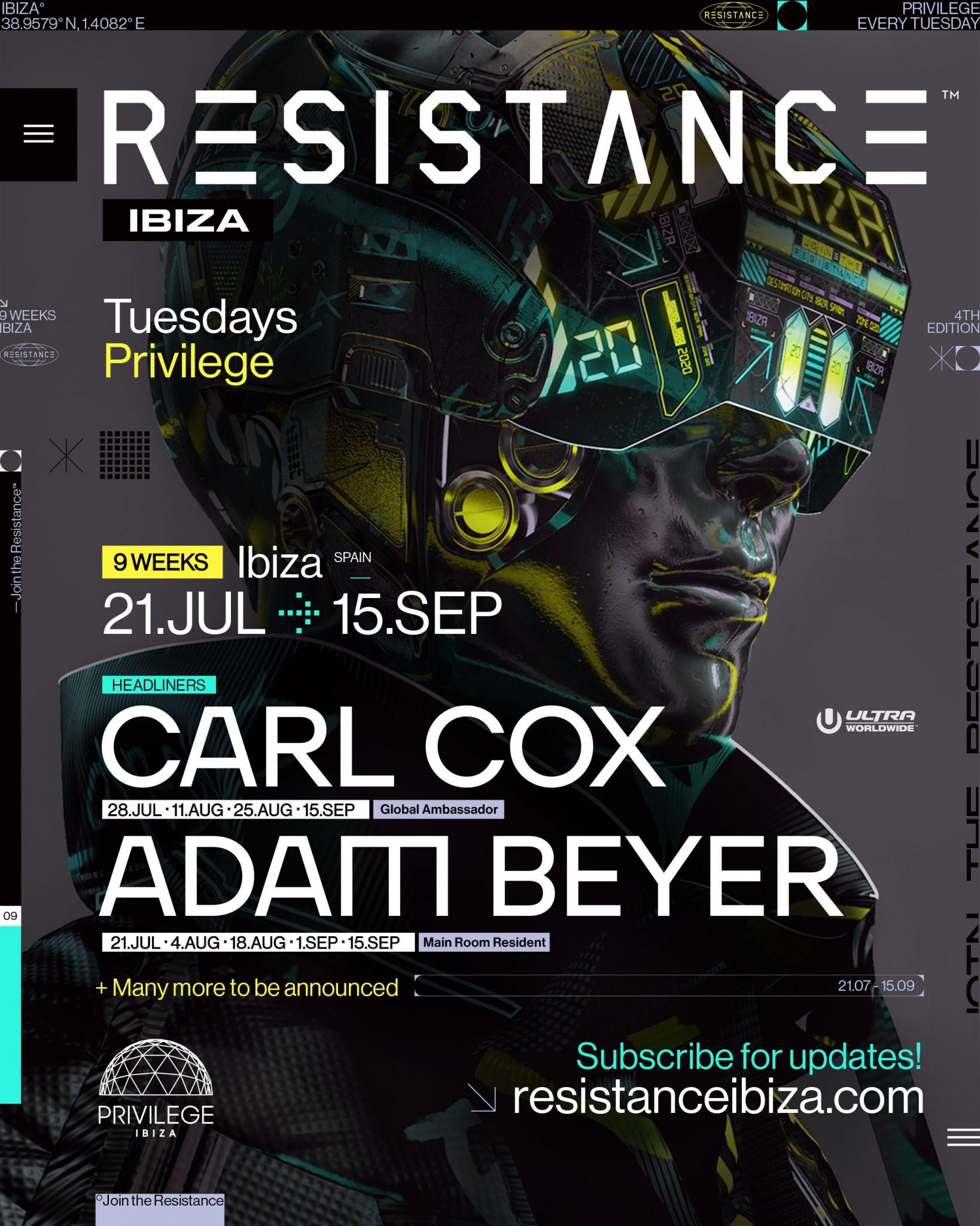RESISTANCE Ibiza Returns for 2020 and Announces Carl Cox & Adam Beyer as First Acts ile ilgili görsel sonucu