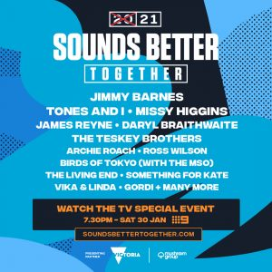 2021 SOUNDS BETTER TOGETHER | Don't miss music TV event 7.30pm tonight on Nine | Jon Stevens to replace Daryl Braithwaite live from Mallacoota