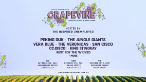 GRAPEVINE GATHERING ANNOUNCES 2021 LINEUP FEATURING PEKING DUK, THE JUNGLE GIANTS, THE VERONICAS, VERA BLUE + HOSTED BY THE INSPIRED UNEMPLOYED