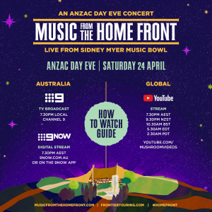 MUSIC FROM THE HOME FRONT 2021 DON'T MISS THE CHANNEL 9 BROADCAST OR GLOBAL YOUTUBE LIVESTREAM FROM 7:30PM TOMORROW LIVE MELBOURNE CONCERT SOLD OUT!